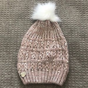 Betsey Johnson Pink Pearl Beanie